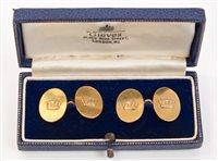 Lot 8 - Pair gold (9ct) Naval cufflinks - each oval...