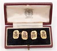 Lot 24 - HM Queen Elizabeth II - pair fine gold (9ct)...