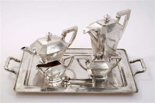Lot 532-Chinese Silverer five piece tea set - comprising...