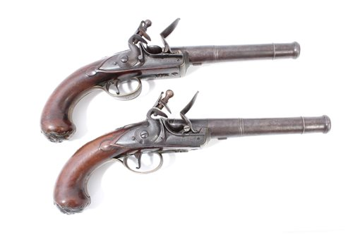 Lot 908-Fine pair Georgian flintlock cannon barrel...