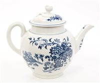 Lot 8 - 18th century Worcester blue and white teapot...