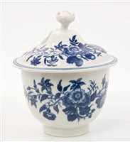 Lot 9 - 18th century Worcester blue and white sucrier...