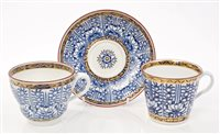 Lot 11 - Late 18th century Worcester trio with blue and...