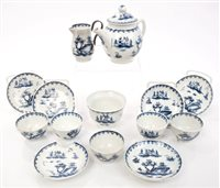 Lot 28 - Rare 18th century Lowestoft blue and white...
