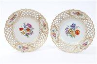 Lot 30 - Pair 19th century Meissen dessert plates with...
