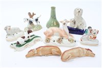 Lot 34 - Collection of 19th century Staffordshire dog,...