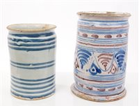 Lot 50 - Two 18th century blue and white drug jars of...