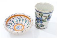 Lot 64 - Antique Iznic pottery beaker with polychrome...