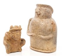 Lot 69 - Seven Ancient pre-Columbian pottery mask...