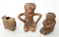 Lot 71 - Three Ancient pre-Columbian pottery figure...