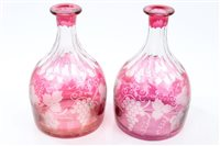 Lot 75 - Pair late 19th century ruby glass overlaid...
