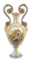 Lot 94 - 19th century Italian Majolica vase with double-...
