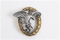 Lot 539 - Nazi Luftwaffe Air Observers badge with narrow...
