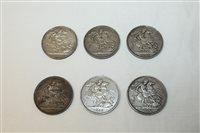 Lot 13 - G.B. mixed Victorian Silverer Crowns J.H. 1887....