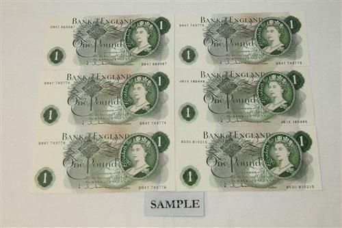 Lot 25 - Banknotes - G.B. QEII. Series 'C' Hollom (Feb....