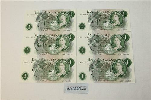 Lot 27 - Banknotes - G.B. QEII. Series 'C' Hollom (Feb....