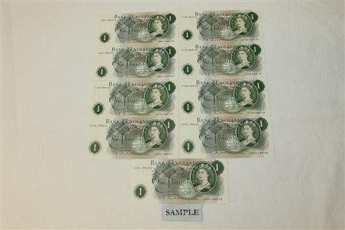 Lot 28 - Banknotes - G.B. QEII. Series 'C' Hollom green...
