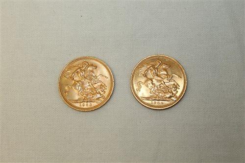 Lot 35 - G.B. gold Sovereigns - Elizabeth II 1963. AU...