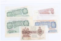 Lot 111 - Banknotes - G.B. - to include Fisher One Pound...