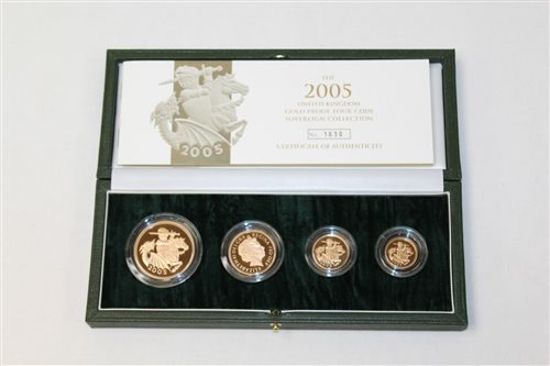 Lot 2337-G.B. Gold Proof Four Coins Sovereign Collection - ...