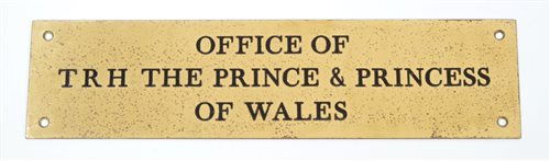 Lot 91-TRH The Prince and Princess of Wales - brass door ...