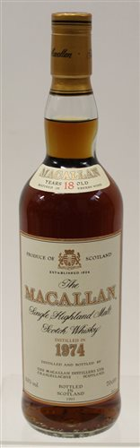 Lot 589-Whisky - one bottle, The Macallan Aged 18...