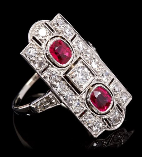 Lot 609-Art Deco synthetic ruby and diamond cocktail ring,...