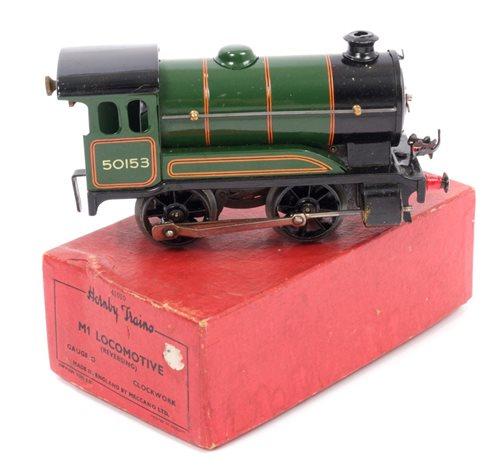 Lot 2795-Railway - Hornby 0 gauge M1 Locomotive BR Green...