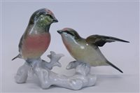 Lot 2014 - Karl Ens porcelain Pink Head Finches group -...