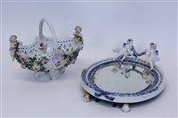 Lot 2016 - German porcelain table mirror with cherub...