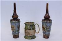 Lot 2018 - Pair of Eliza Simmance Doulton Lambeth vases...