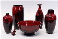 Lot 2023 - Four Royal Doulton flambé vases with landscape...