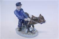 Lot 2028 - Royal Copenhagen figure - boy with cow,...