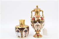 Lot 2036 - Royal Crown Derby Imari two-handled vase and...