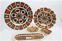 Lot 2039 - Two Royal Crown Derby Imari plates and three...
