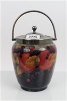 Lot 2045 - Moorcroft Pottery biscuit barrel decorated in...