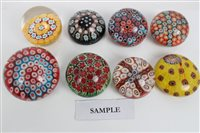 Lot 2081 - Collection of glass paperweights with...