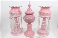 Lot 2083 - Pair of Victorian pink glass lustres with...