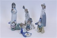 Lot 2071 - Two Nao porcelain Clockswns and five Nao...