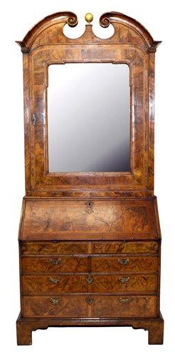 Lot 1353-Good early 18th century walnut bureau cabinet,...