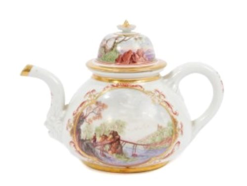 Lot 10-Rare early Meissen teapot and cover, circa 1722,...