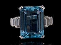 Lot 471-An Art Deco style Aquamarine and diamond...