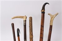 Lot 681 - Antique alpine hiking staff with horn handle...