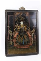 Lot 645-Chinese reverse painting on glass - Ancestral...