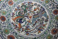 Lot 2-Chinese Qing period Doucai charger, probably...