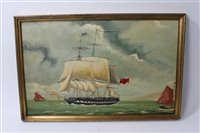 Lot 711 - Mid-19th century-style painting on sail cloth...