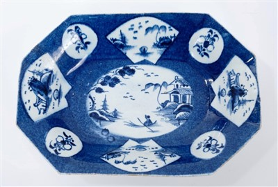 Lot 13-18th century Bow powder-blue ground baking...