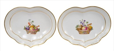 Lot 19-Pair late 18th century Derby heart-shaped...