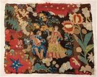 Lot 735 - Early 18th century embroidered tapestry...