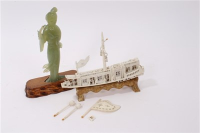 Lot 724 - Antique Chinese carved ivory model of a...